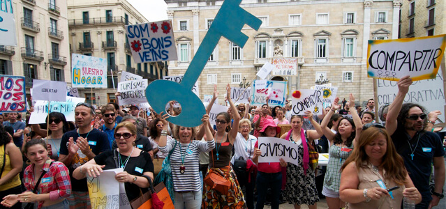 Protesta de anfitriones de Airbnb en Barcelona