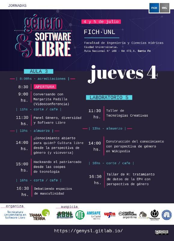 Jornada Género y Software Libre - programa jueves 4 de julio